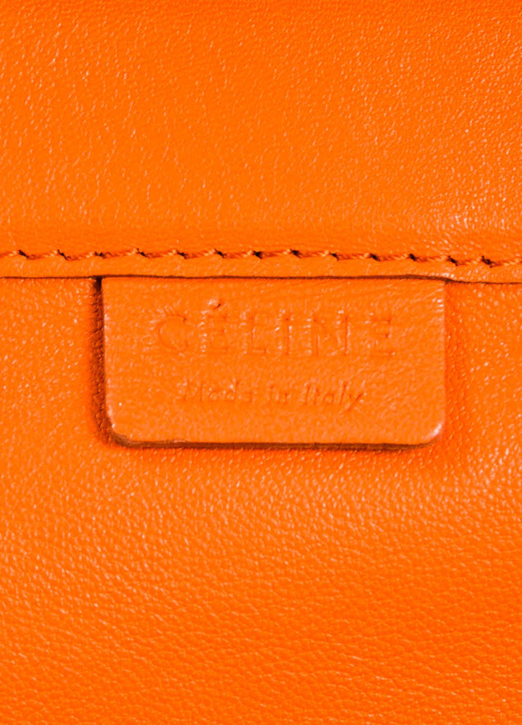 "Celine Orange Leather ""Horizontal Gusset Cabas"" Tote Bag Brand"