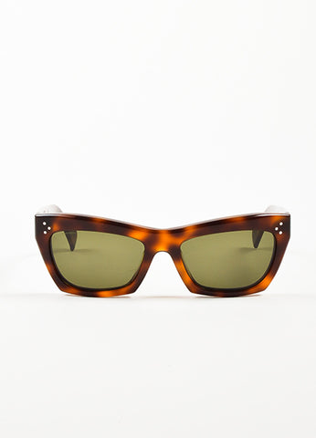 "Celine Brown and Black Tortoise Frame ""Traveller"" Cateye Sunglasses Frontview"