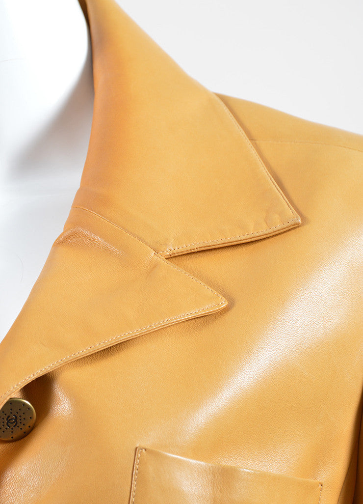 Mustard Yellow Chanel Lambskin Leather Silk Lined Long Belted Jacket  Detail