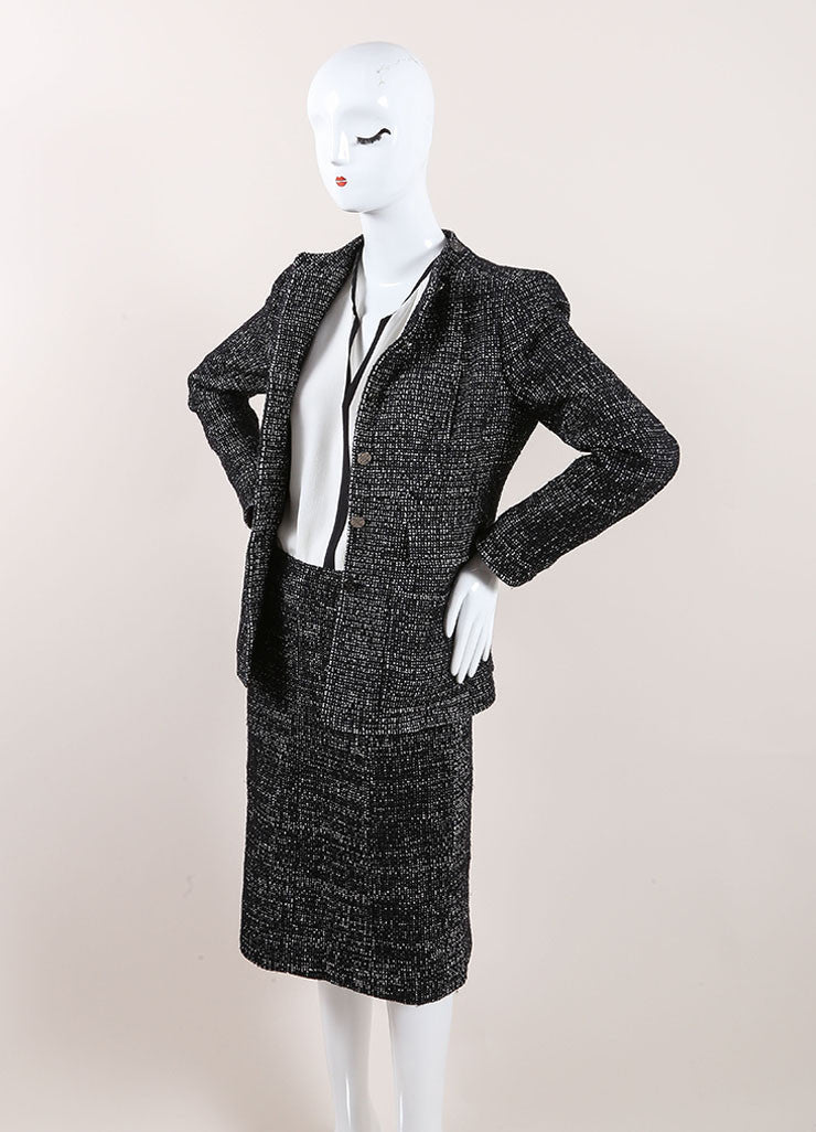 Chanel Black and White Wool Blend Tweed Skirt Suit Sideview