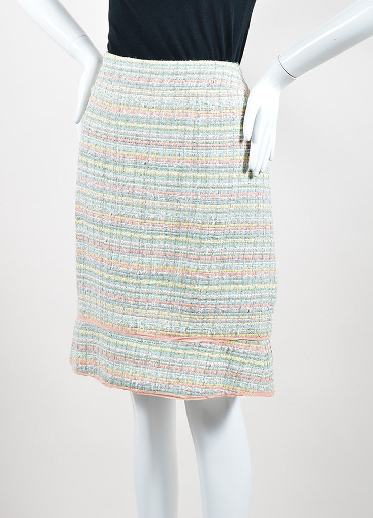 Multicolor Pastel Chanel Silk Blend Ribbon Skirt Sideview