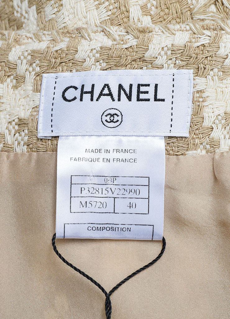 Taupe and White Chanel Silk Woven Houndstooth A-Line Skirt Brand