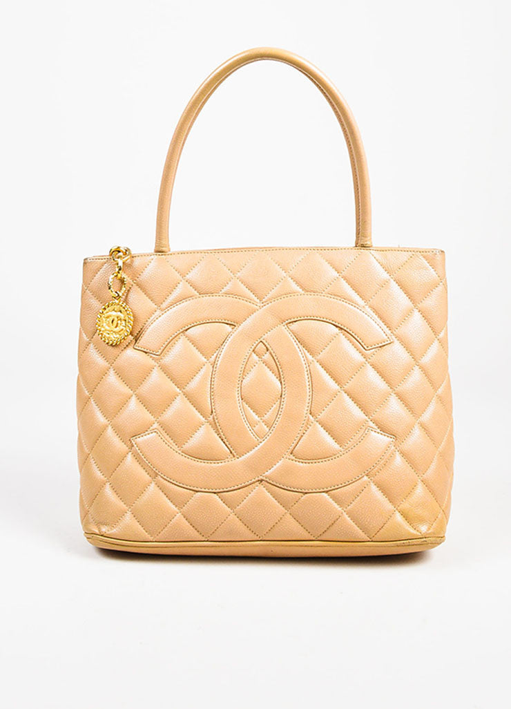 "Chanel Beige Quilted Caviar Leather 'CC' Logo ""Medallion Tote"" Bag frontview"