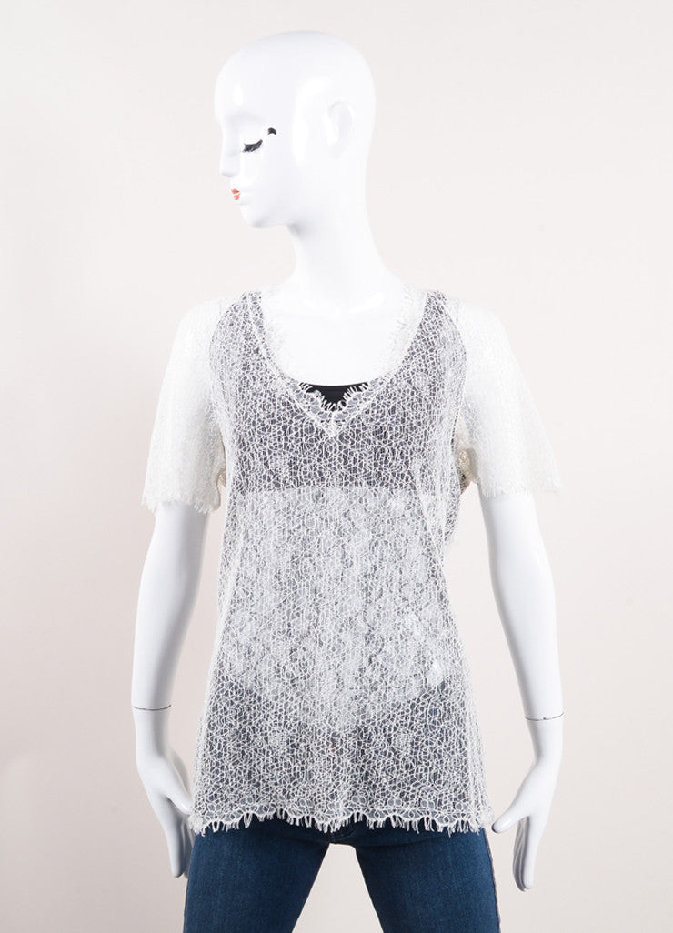 Chanel Black and Cream Semi-Sheer Lace Short Sleeve V-Neck Top Frontview