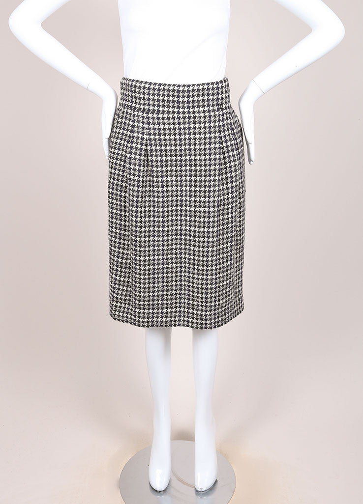 Chanel Black and White Houndstooth Knit Pleated Knee Length Pencil Skirt Frontview