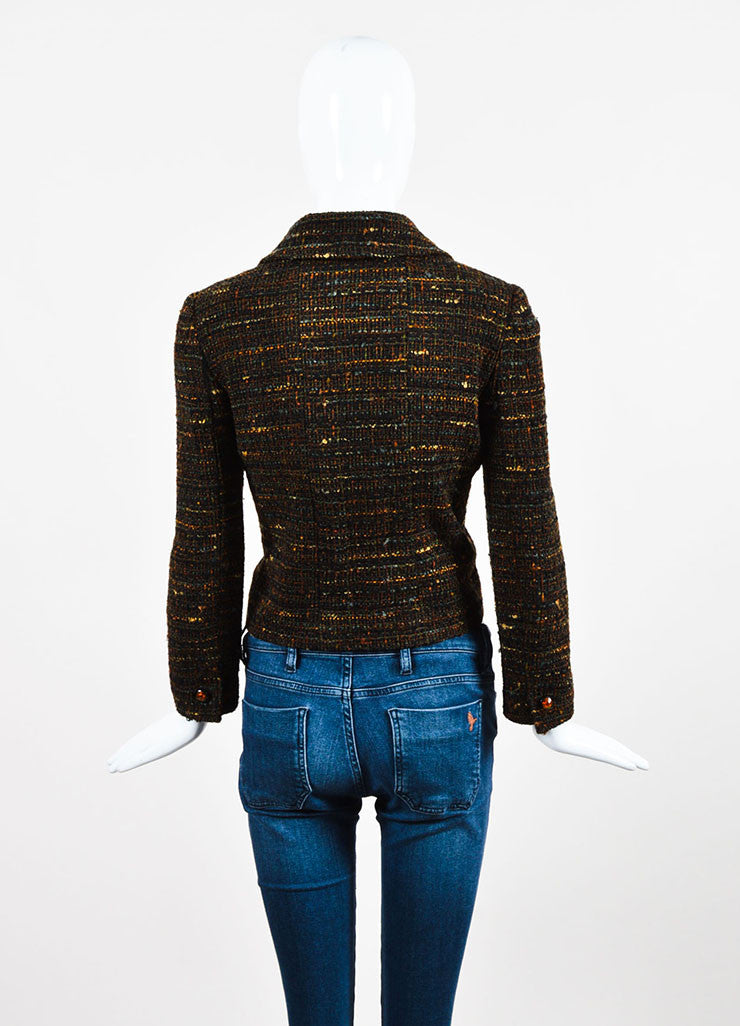 Chanel Brown Wool Tweed Clear Flower Button Jacket Backview