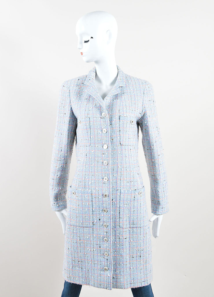 "Chanel Light Blue and Multicolor Wool and Cotton ""CC"" Button Tweed Coat Frontview"