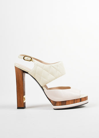 Pink, White, and Brown Chanel Leather and Wood Quilted Peep Toe Slingback Pumps Sideview