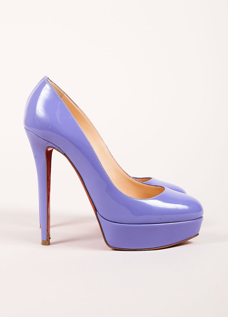 "Christian Louboutin Lavender Patent Leather ""Bianca 140"" Platform Pumps Sideview"