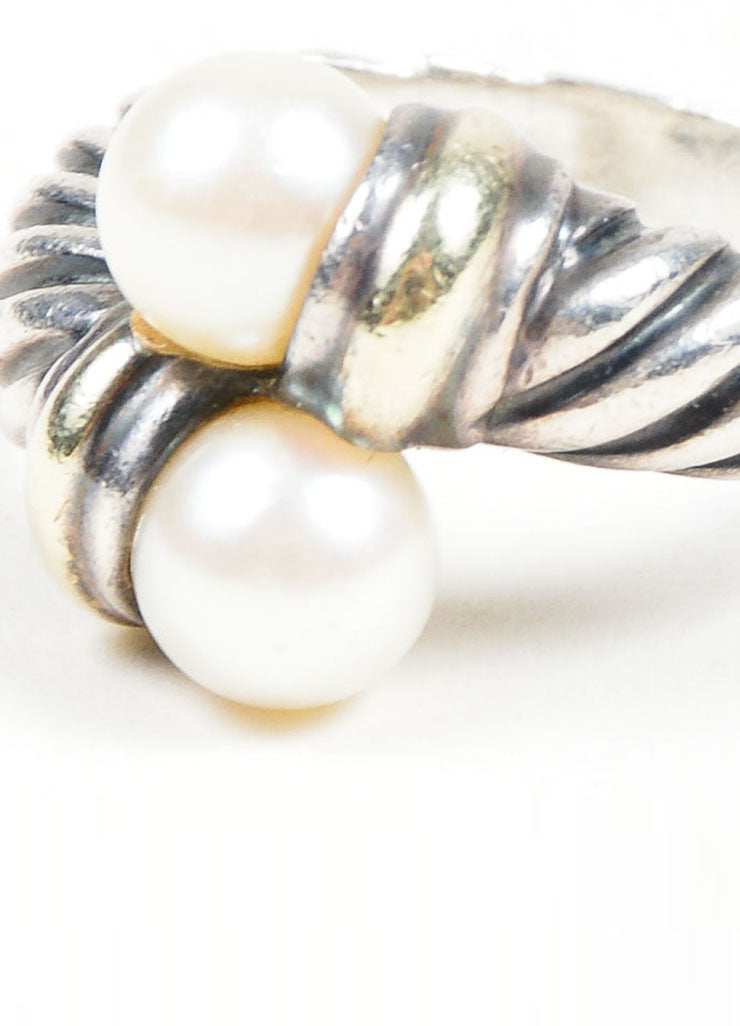 Sterling Silver & 14K Gold David Yurman Pearl Ring Detail