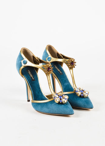 Dolce & Gabbana Blue Velvet & Leather Embellished T Strap Pump Front