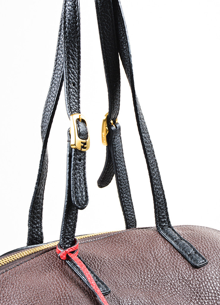 "Fendi Black, Brown, and Red Tricolor Leather Double Strap ""Selleria 2"" Handbag Detail 2"