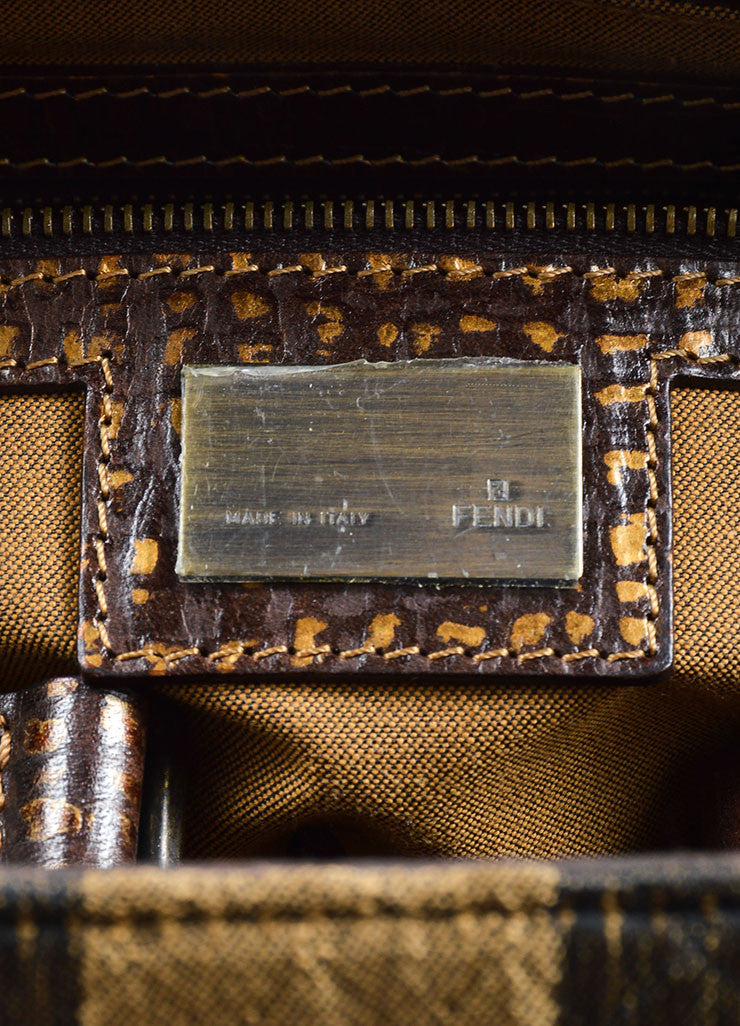 Fendi Brown and Taupe Brocade Leather Trim Patterned Satchel Bag Brand
