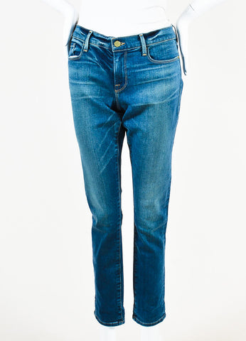 "Frame Denim Blue Denim Faded ""Le Garcon"" Skinny Jeans Frontview"