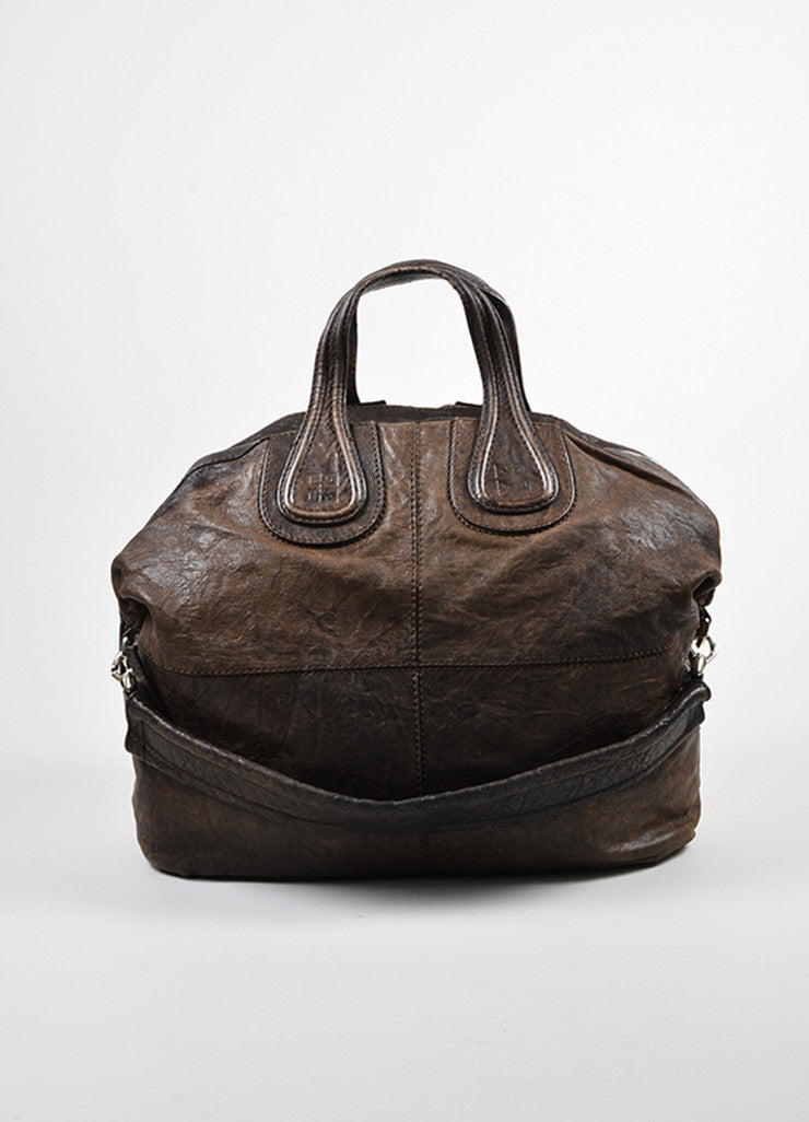 "Givenchy Dark Brown Wrinkled Leather ""Nightingale"" Tote Bag  Frontview"
