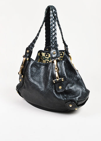 "Gucci Black Leather Embossed 'Guccissima' Small ""Pelham"" Shoulder Bag"
