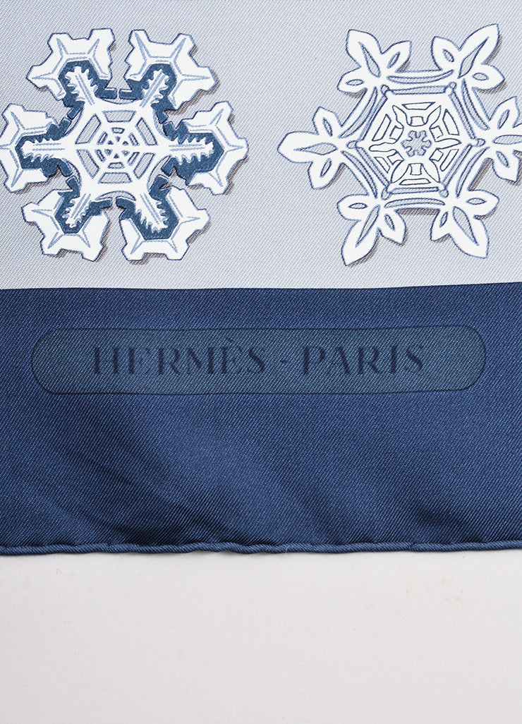 "Hermes Blue, Grey, and White Snowflake Print ""Feux de L'Hiver"" 90cm Square Scarf Brand"
