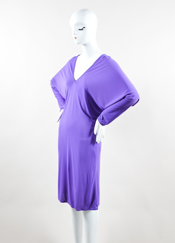 Hermes Purple Jersey V-Neck Dolman Sleeve Dress Sideview