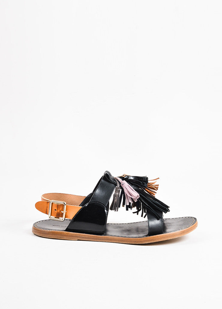"Isabel Marant Etoile Black and Tan Leather Fringe Tasseled ""Pompons"" Sandals Sideview"