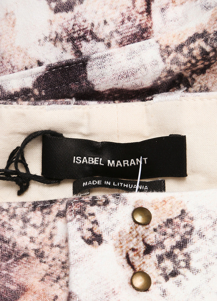 "Isabel Marant New With Tags Cream and Black Printed ""Dessie"" Pants Brand"