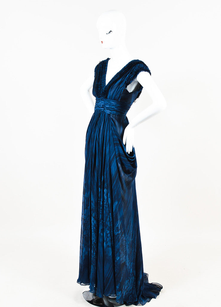 J. Mendel Navy and Black Silk Watercolor Print Ruffle Pleated Sleeveless Gown Sideview