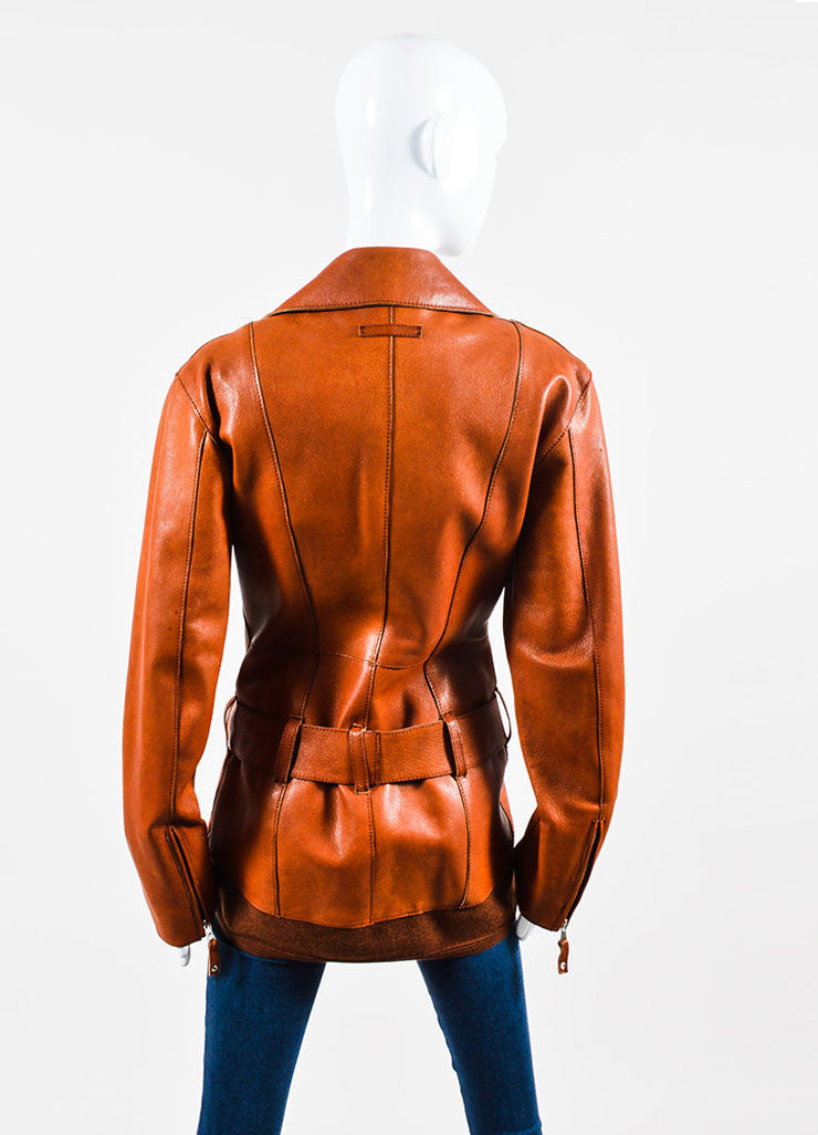 Cognac Jean Paul Gaultier Leather Belted Moto Jacket Back
