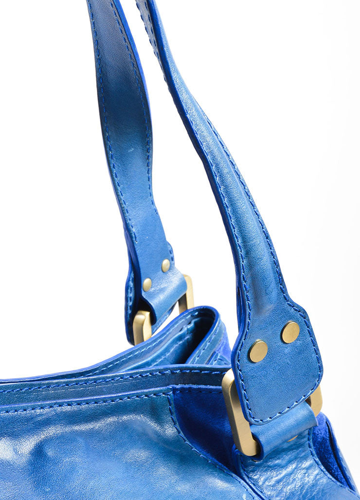 "Jimmy Choo Cobalt Blue Leather ""Mahala"" Shoulder Bag Detail 2"