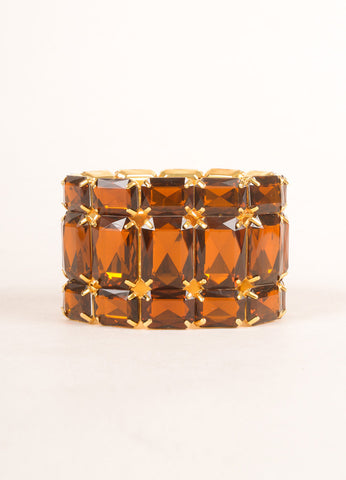 KJL by Kenneth Jay Lane Gold Toned and Brown Topaz Rhinestone Stretch Bracelet Frontview