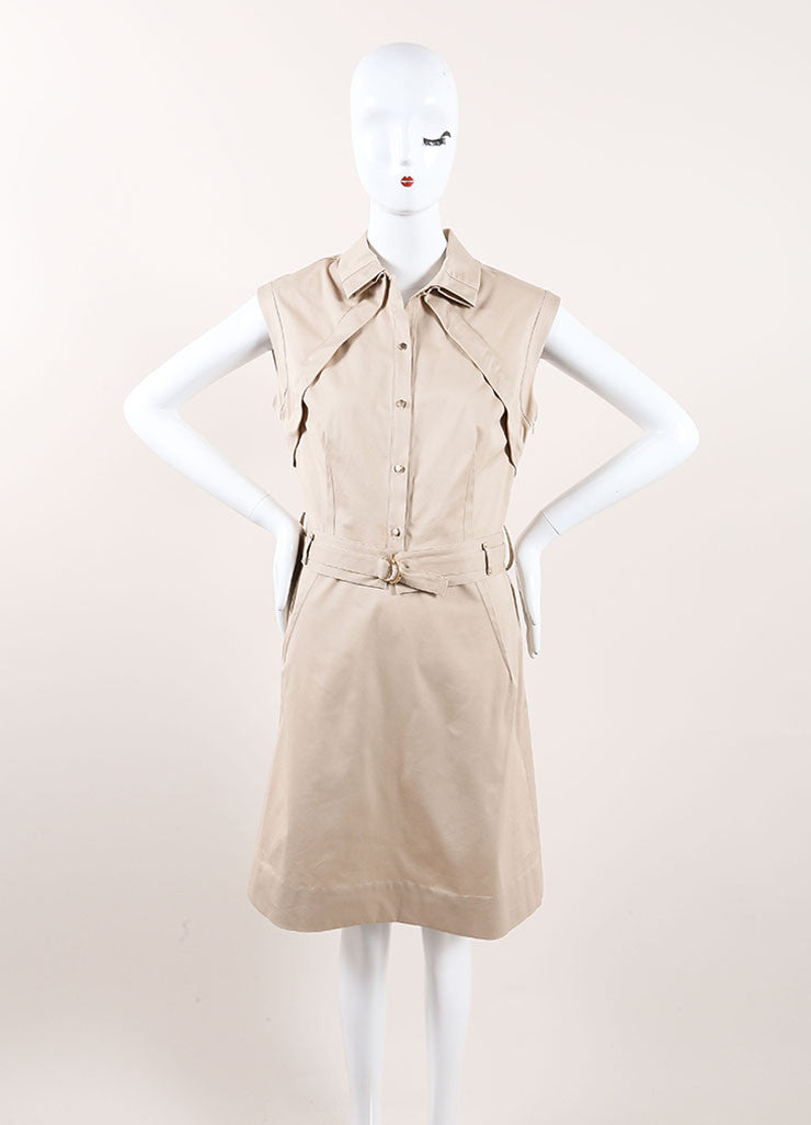 Lela Rose New With Tags Tan Khaki Pleated Belted Sleeveless Dress Frontview