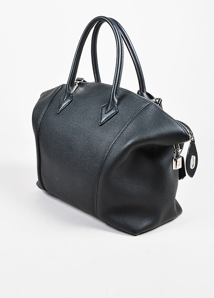 "Louis Vuitton ""Noir"" Black Taurillon Pebbled Leather ""Lockit MM"" Tote Bag Sideview"
