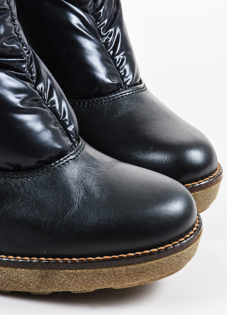 Black Moncler Puffer Rubber Wedge Mid Calf Boots Detail