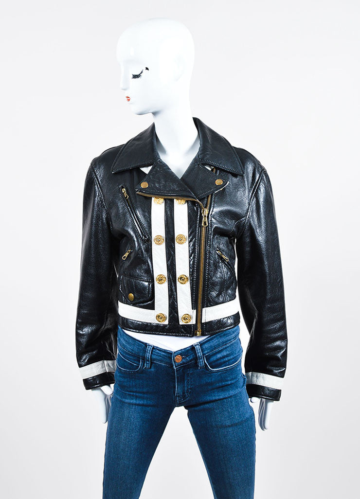 Moschino Cheap and Chic Black and White Leather Striped Moto Jacket Frontview