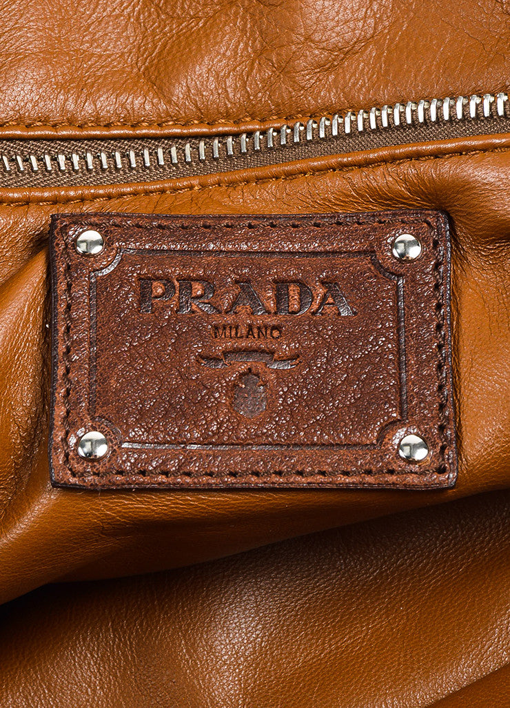 Prada Brown Distressed Leather Silver Toned Zip Multipocket Satchel Shoulder Bag Brand