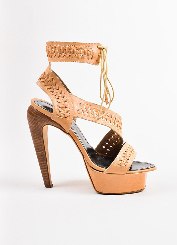 Proenza Schouler Light Tan Woven Leather Platform Sandal Heels Sideview