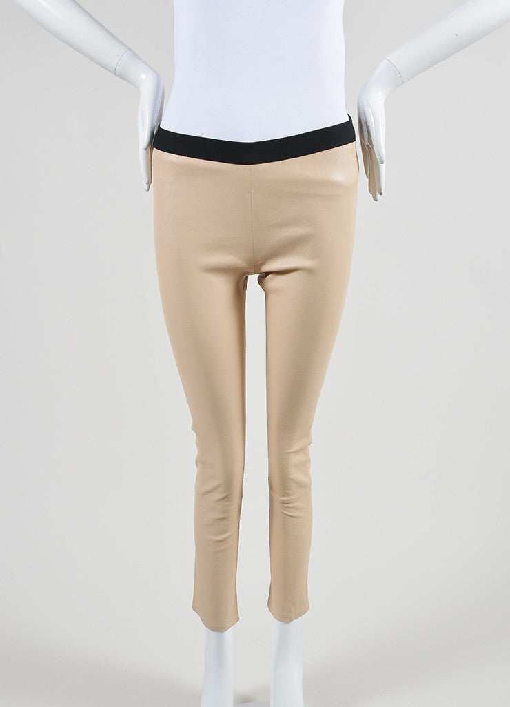 The Perfext Nude Beige and Black Leather Skinny Legging Pants Frontview