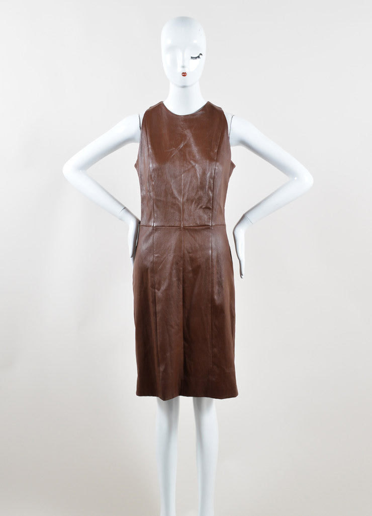 The Row Brown Leather Sleeveless Sheath Dress Front