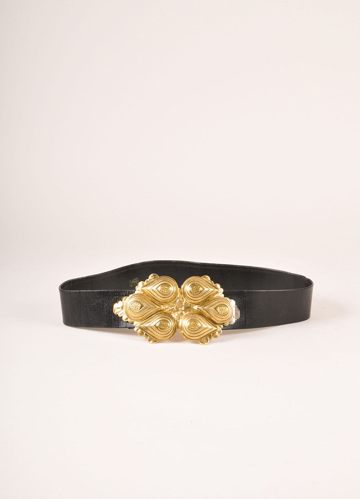 Abbi Creation Black and Gold Toned Leather Paisley Tear Drop Buckle Belt Frontview