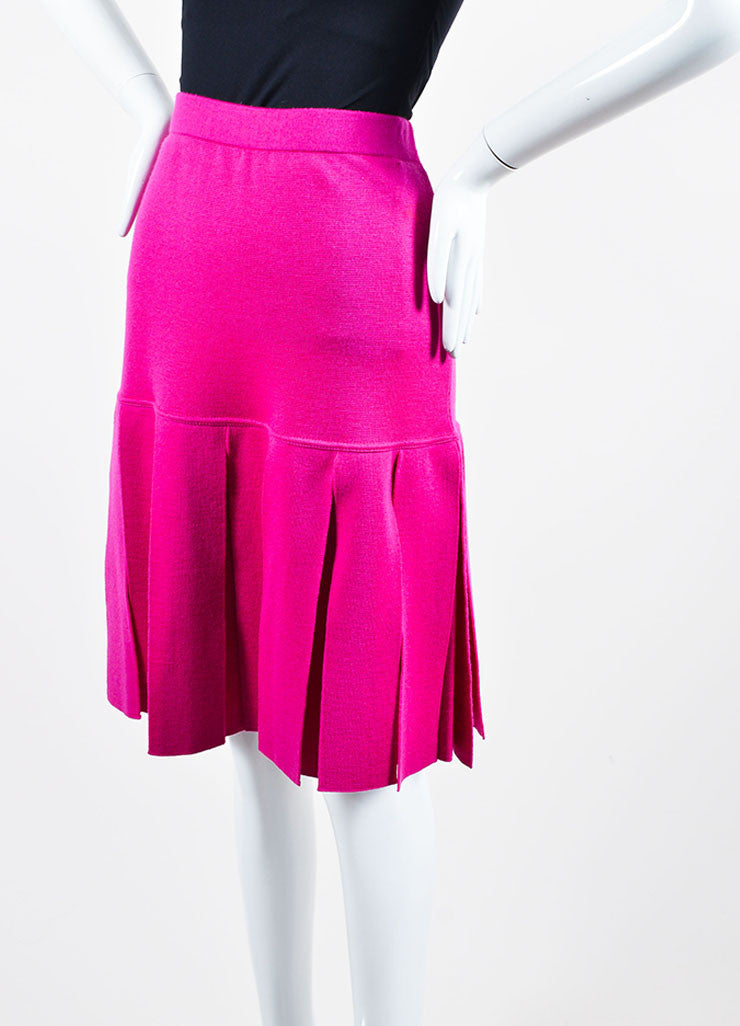 Magenta Pink Chanel Wool Knit Pleated Knee Length Skirt Sideview
