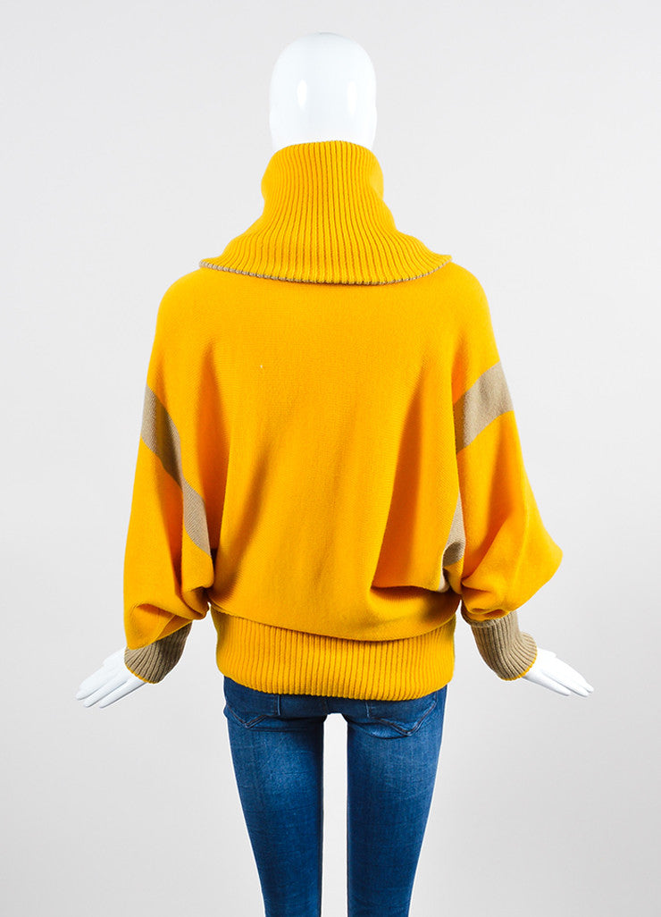 Mustard Yellow and Tan Issey Miyake Chunky Turtleneck Sweater Backview