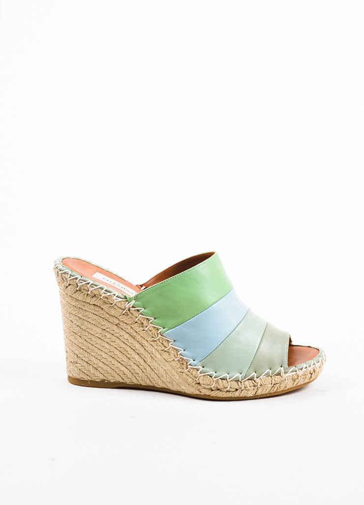Valentino Green and Blue Leather Striped Espadrille Wedge Sandals Sideview