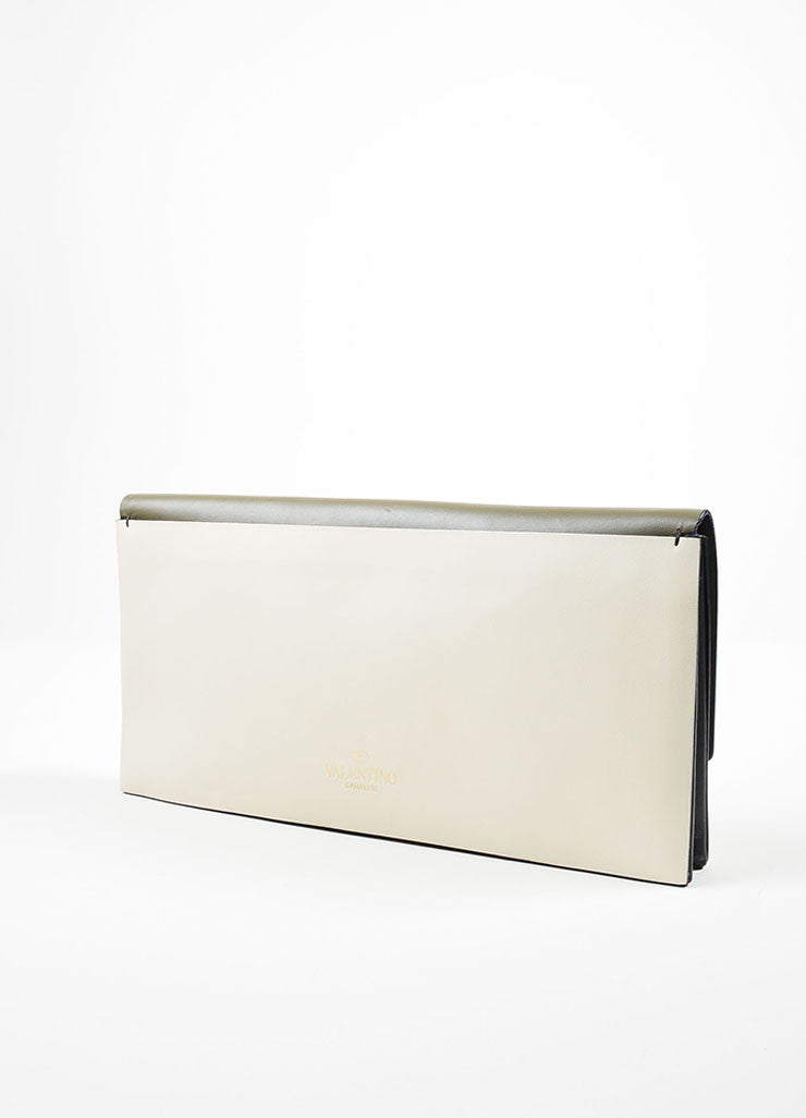 Green, White, and Black Color Block Valentino Leather Rectangle Clutch Backview