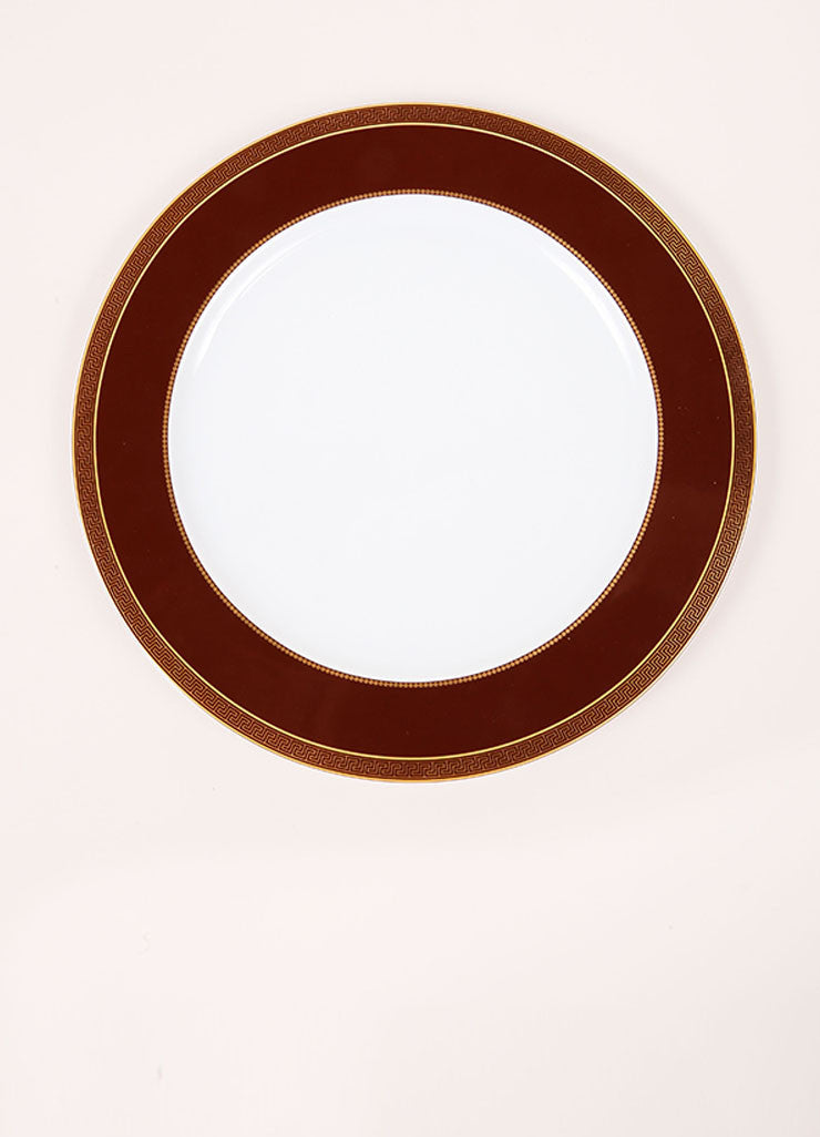"Versace Rosenthal Brown and Gold Toned ""Medallion Meandre Marron"" 12 inch Service Plate Frontview"