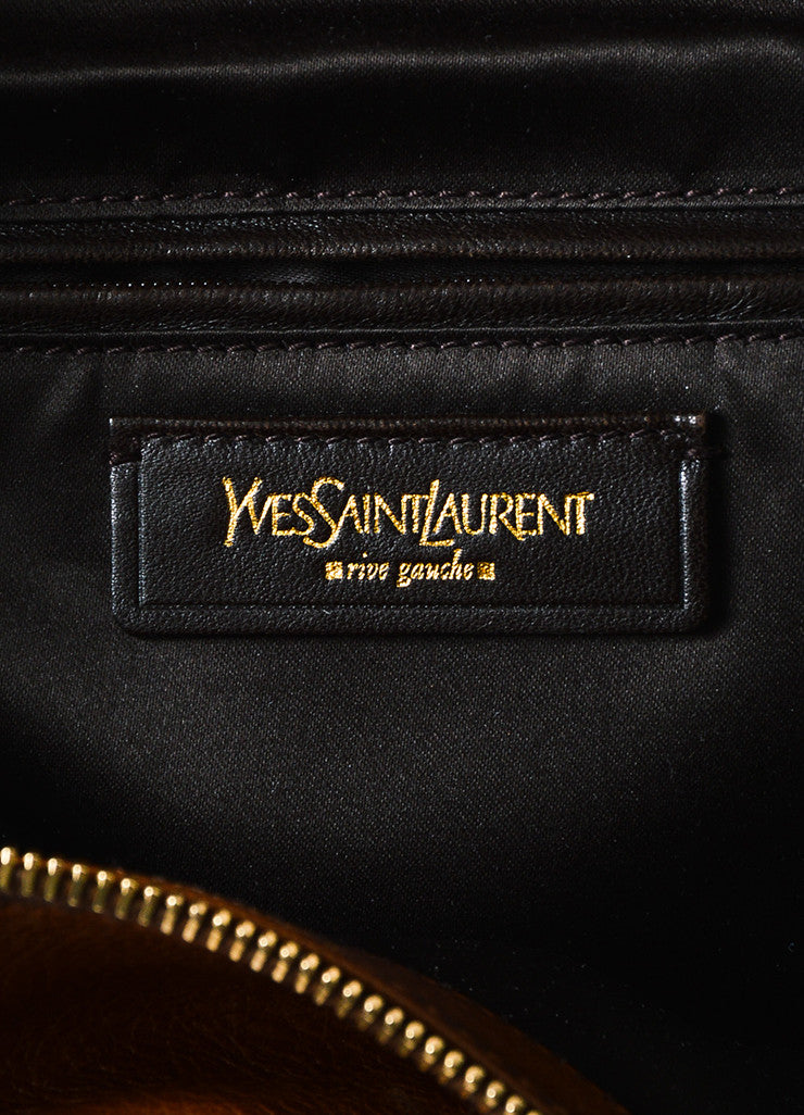 "Cognac Brown Yves Saint Laurent Glossy Leather ""Muse Messenger"" Bag Brand"