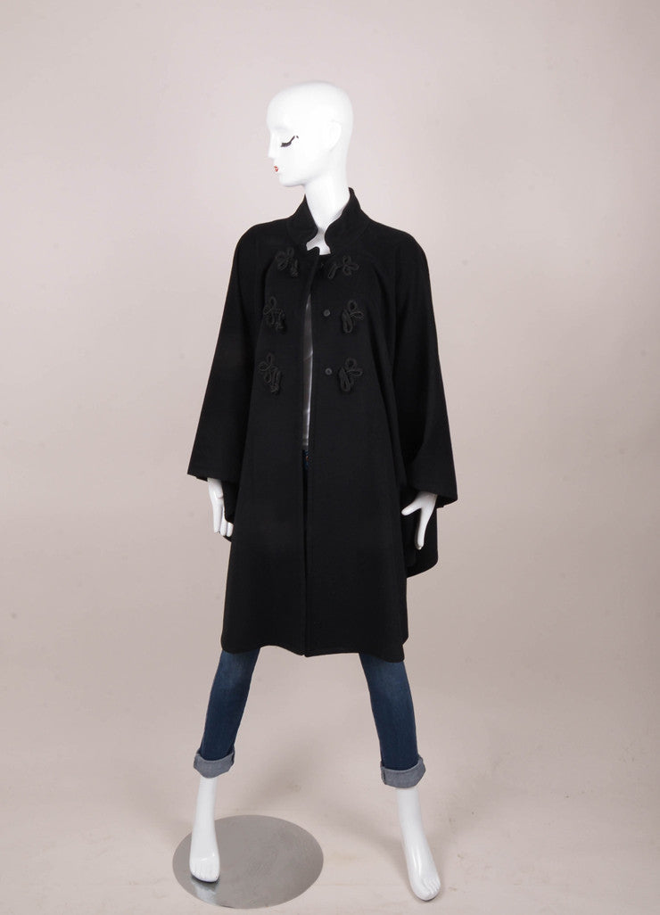 Black Cashmere Toggle Fastened Cape