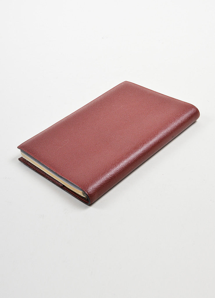 "Burgundy Red Hermes Large ""Globetrotter"" Leather Agenda Planner Address Book Sideview"