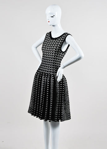 Black and White Alaia Thick Knit Patterned Pleated Flare Dress Sideview