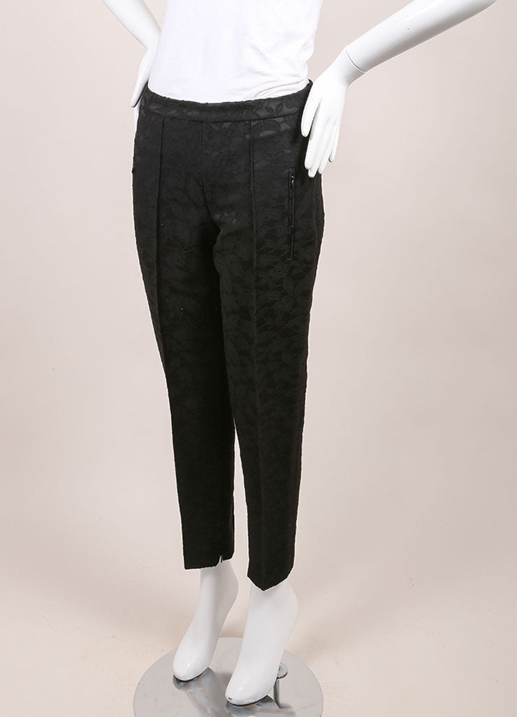 Andrew Gn New With Tags Black Floral Embroidered Wool Blend Ankle Trousers Sideview
