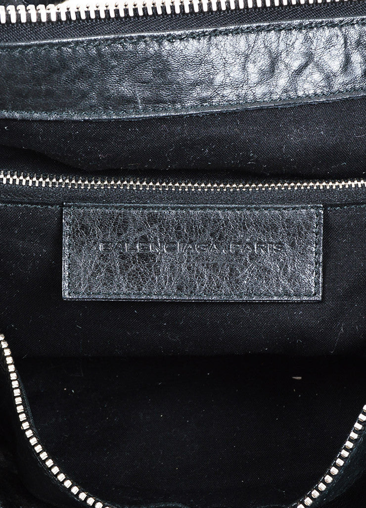 "Balenciaga Black Grain Leather Studded Top Handle ""Giant 21 Work"" Bag Brand"