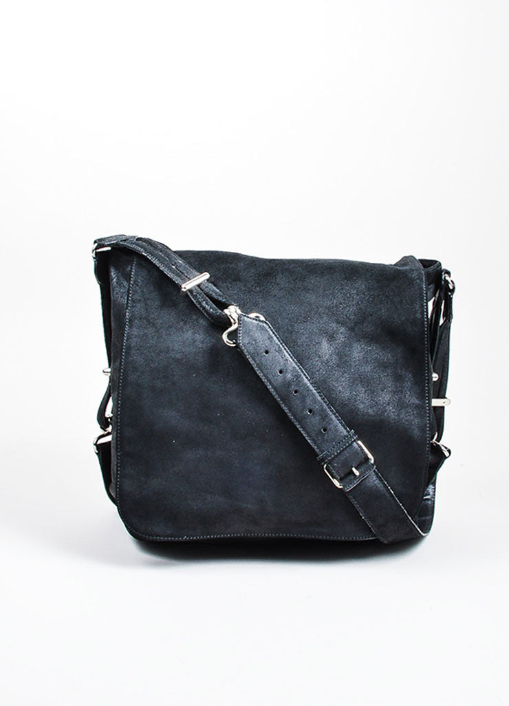 Black Balenciaga Suede Leather Flap Messenger Shoulder Bag Frontview