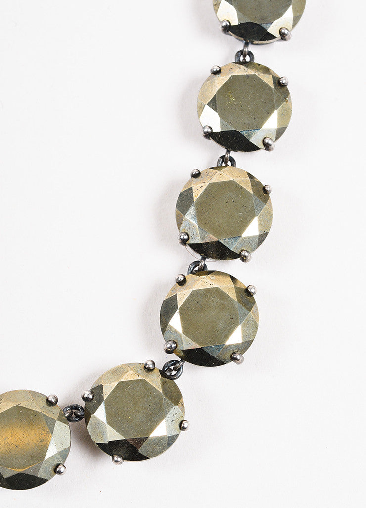 Bottega Veneta Bronze Sterling Silver Round Crystal Embellished Necklace Detail 2
